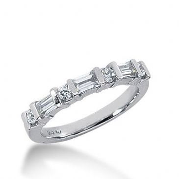 950 Platinum Diamond Anniversary Wedding Ring 4 Round Brilliant, 3 Straight Baguette Diamonds 0.60ctw 344WR1495PLT