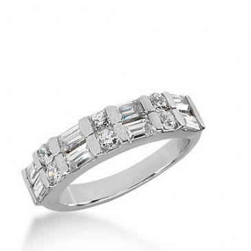 18k Gold Diamond Anniversary Wedding Ring 6 Round Brilliant, 8 Straight Baguette Diamonds 1.26ctw 345WR149618K