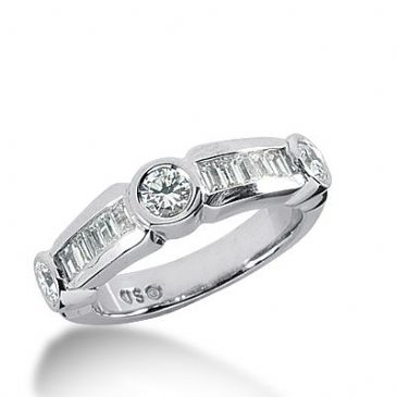 18k Gold Diamond Anniversary Wedding Ring 3 Round Brilliant, 12 Straight Baguette Diamonds 0.99ctw 346WR149718K