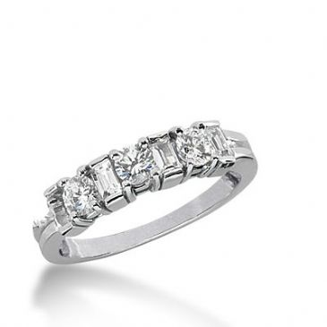 950 Platinum Diamond Anniversary Wedding Ring 3 Round Brilliant, 4 Straight Baguette Diamonds 0.77ctw 347WR1499PLT