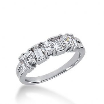 18k Gold Diamond Anniversary Wedding Ring 3 Round Brilliant, 4 Straight Baguette Diamonds 1.08ctw 348WR150018K