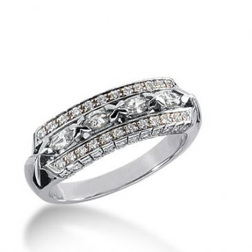 18k Gold Diamond Anniversary Wedding Ring 4 Marquise Shaped, 72 Round Brilliant Diamonds 0.96ctw 349WR150118K