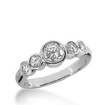 18K Gold Diamond Anniversary Wedding Ring 5 Round Brilliant Diamonds 1.20ctw 350WR150218K