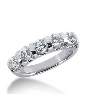 950 Platinum Diamond Anniversary Wedding Ring 5 Round Brilliant Diamonds 1.25ctw 351WR1503PLT