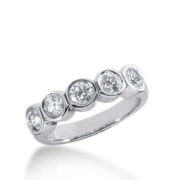 950 Platinum Diamond Anniversary Wedding Ring 5 Round Brilliant Diamonds 1.00ctw 352WR1504PLT
