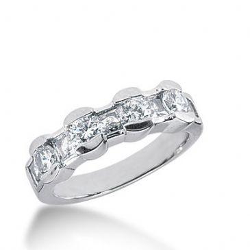 18k Gold Diamond Anniversary Wedding Ring 5 Princess Cut, 4 Round Brilliant Diamonds 1.65ctw 353WR150518K