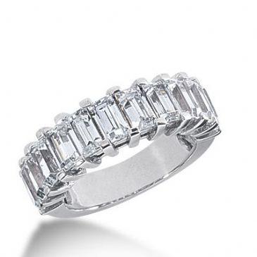 18k Gold Diamond Anniversary Wedding Ring 11 Emerald Cut Diamonds 3.63ctw 354WR150718K