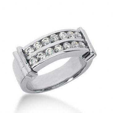 950 Platinum Diamond Anniversary Wedding Ring 16 Round Brilliant Diamonds 0.80ctw 355WR1508PLT