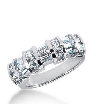 950 Platinum Diamond Anniversary Wedding Ring 8 Round Brilliant, 6 Straight Baguette Diamonds 1.16ctw 357WR1514PLT