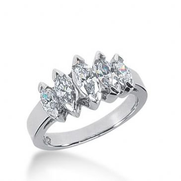 950 Platinum Diamond Anniversary Wedding Ring 5 Marquise Shaped Diamonds 1.74ctw 358WR1516PLT