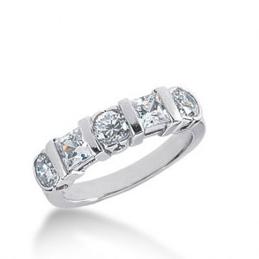 18k Gold Diamond Anniversary Wedding Ring 2 Princess Cut, 3 Round Brilliant Diamonds 1.35ctw 359WR151718K