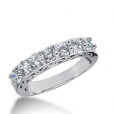 18k Gold Diamond Anniversary Wedding Ring 7 Round Brilliant Diamonds 1.40ctw 360WR151818K