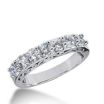 950 Platinum Diamond Anniversary Wedding Ring 7 Round Brilliant Diamonds 1.40ctw 360WR1518PLT