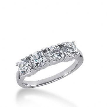950 Platinum Diamond Anniversary Wedding Ring 4 Round Brilliant Diamonds 1.20ctw 361WR1519PLT