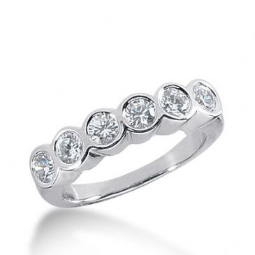 950 Platinum Diamond Anniversary Wedding Ring 6 Round Brilliant Diamonds 0.90ctw 362WR1520PLT