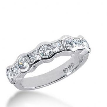 950 Platinum Diamond Anniversary Wedding Ring 4 Princess Cut, 5 Round Brilliant Diamonds 1.15ctw 365WR1526PLT