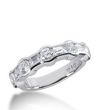 18k Gold Diamond Anniversary Wedding Ring 5 Round Brilliant, 4 Straight Baguette Diamonds 1.48ctw 366WR152718K