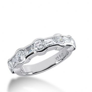 950 Platinum Diamond Anniversary Wedding Ring 5 Round Brilliant, 4 Straight Baguette Diamonds 1.48ctw 366WR1527PLT