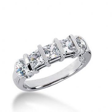 18k Gold Diamond Anniversary Wedding Ring 3 Princess Cut, 2 Round Brilliant Diamonds 1.70ctw 367WR152818K