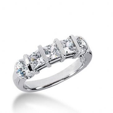 950 Platinum Diamond Anniversary Wedding Ring 3 Princess Cut, 2 Round Brilliant Diamonds 1.70ctw 367WR1528PLT