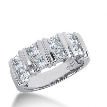 18k Gold Diamond Anniversary Wedding Ring 8 Princess Cut Diamonds 2.16ctw 369WR153018K