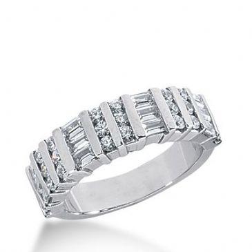 18k Gold Diamond Anniversary Wedding Ring 25 Round Brilliant, 12 Straight Baguette Diamonds 1.44ctw 371WR154418K