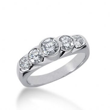950 Platinum Diamond Anniversary Wedding Ring 5 Round Brilliant Diamonds 1.05ctw 373WR1552PLT