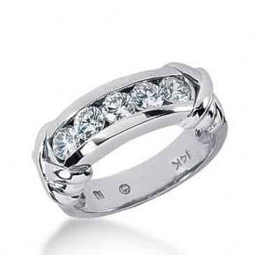 950 Platinum Diamond Anniversary Wedding Ring 5 Round Brilliant Diamonds 0.75ctw 374WR1558PLT