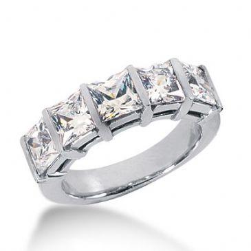 18k Gold Diamond Anniversary Wedding Ring 5 Princess Cut Diamonds 3.75ctw 377WR156318K