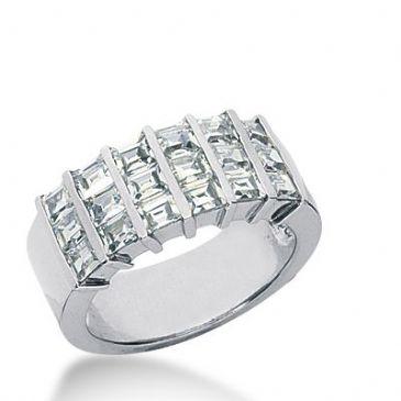 18k Gold Diamond Anniversary Wedding Ring 18 Straight Baguette Diamonds 1.98ctw 379WR156518K