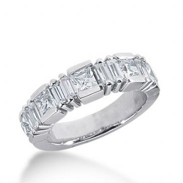18k Gold Diamond Anniversary Wedding Ring 5 Princess Cut, 8 Straight Baguette Diamonds 1.83ctw 380WR156918K