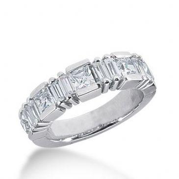 950 Platinum Diamond Anniversary Wedding Ring 5 Princess Cut, 8 Straight Baguette Diamonds 1.83ctw 380WR1569PLT