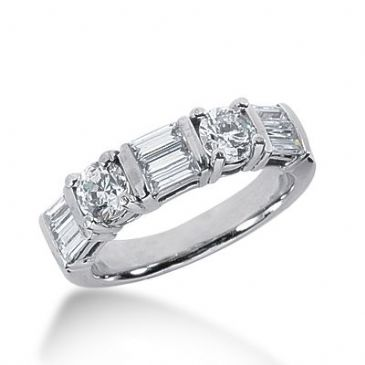 18k Gold Diamond Anniversary Wedding Ring 2 Round Brilliant, 9 Straight Baguette Diamonds 1.42ctw 381WR157018K