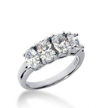 950 Platinum Diamond Anniversary Wedding Ring 4 Oval Cut Diamonds 2.30ctw 382WR1572PLT