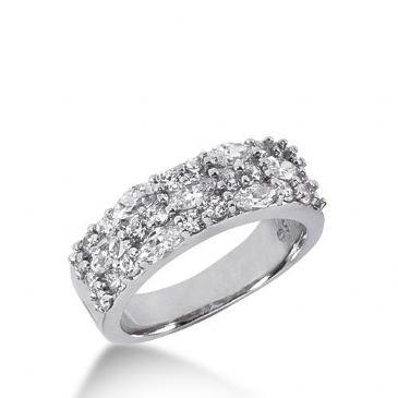950 Platinum Diamond Anniversary Wedding Ring 7 Marquise Shaped, 22 Round Brilliant Diamonds 1.86ctw 383WR1573PLT