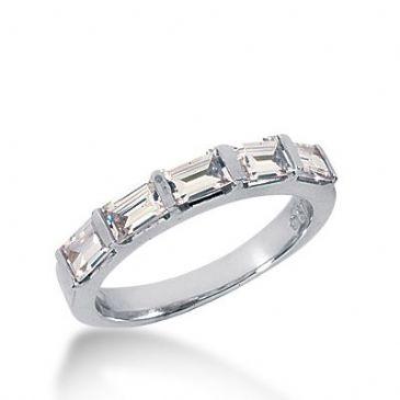 950 Platinum Diamond Anniversary Wedding Ring 5 Straight Baguette Diamonds 1.00ctw 389WR1603PLT