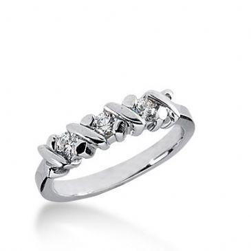 18k Gold Diamond Anniversary Wedding Ring 3 Round Brilliant Diamonds 0.30ctw 390WR164218K