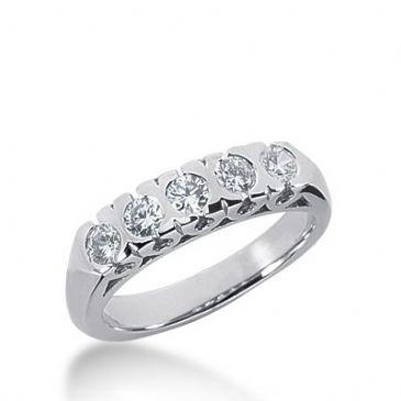 950 Platinum Diamond Anniversary Wedding Ring 5 Round Brilliant Diamonds 0.50ctw 391WR1643PLT