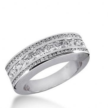 950 Platinum Diamond Anniversary Wedding Ring 11 Princess Cut, 38 Round Brilliant Diamonds 1.48ctw 392WR1645PLT