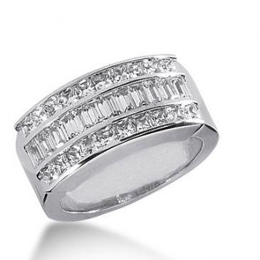 950 Platinum Diamond Anniversary Wedding Ring 20 Princess Cut, 22 Straight Baguette Diamonds 2.52ctw 393WR1646PLT