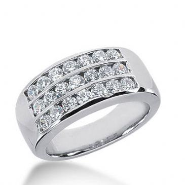 950 Platinum Diamond Anniversary Wedding Ring 21 Round Brilliant Diamonds 0.83ctw 394WR1647PLT