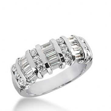 18k Gold Diamond Anniversary Wedding Ring 12 Round Brilliant, 9 Straight Baguette Diamonds 1.20ctw 396WR164918K