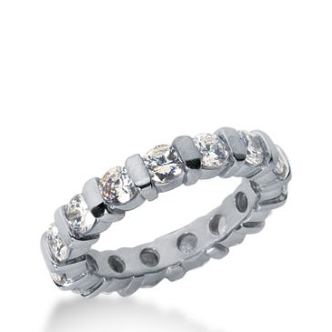 18k Gold Diamond Eternity Wedding Bands, Bar Setting 2.50 ct. DEB32618K