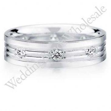 950 Platinum 6mm Diamond Wedding Bands Rings 0904