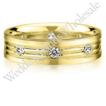 14K Gold 6mm Diamond Wedding Bands Rings 0913