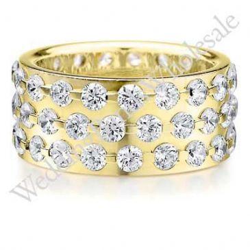 18K Gold 9mm Diamond Wedding Bands Rings 0907