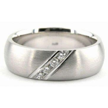 18K Gold 6.5mm Diamond Wedding Bands Rings 0885