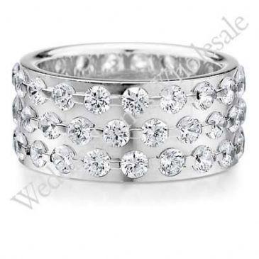 18K Gold 9mm Diamond Wedding Bands Rings 0909