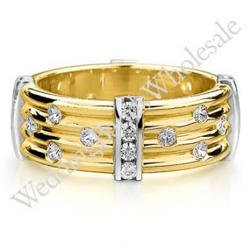 18K Gold 7.5mm Diamond Wedding Bands Rings 0914