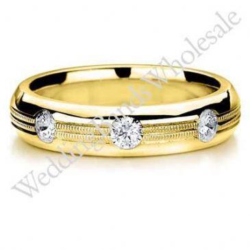 18K Gold 5.5mm Diamond Wedding Bands Rings 0915